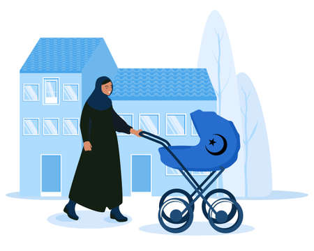 Arabian woman with stroller.Mother is walking with newborn baby in city.Pram on urban background.Flat vector illustration.Islam religion.Spending time outdoors.Real estate and construction industry.