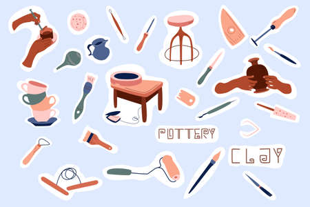 Clay crafting stickers collection. Pottery making, tools and instruments for workshop. Sculpture art and ceramics production.Clip art set for stationery. Handiwork or hobby.Doodle style, vector.
