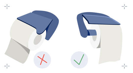 Toilet paper position handle meme. How to use roll in right way. Vector illustration in flat style. Great debate about lavatory paper in holder.Hygienic goods. Poster for shop,website,advertisement Ilustracja
