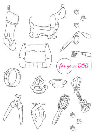 Online pet shop or store. Cute dachshund puppy. Vector set in doodle style. Grooming tools for fur and nails care. Ordering goods for domestic animal from home. Иллюстрация