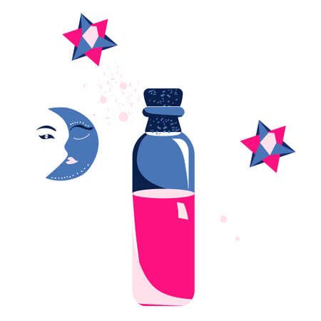 Magic elixir or love potion in glass vial with cork.Spell and witchcraft.Wiccan and astrology.Night and day symbols. 3d stars and geometric shapes.Trendy colors.Vector in flat style.Alchemist tool.