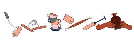Clay crafting equipment set in doodle style. Pottery making, tools and instruments for workshop. Sculpture art and ceramics production. Handiwork process or hobby.Vector.Horizontal banner