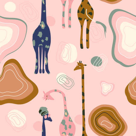 Abstract seamless pattern with hand drawn African giraffes family.Mid century modern style.Stains,stripes and waves shapes.Savannah,wild animals with sunglasses and turbans imitate people.Vector