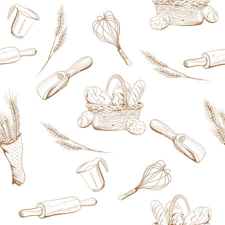 Bread and bakery seamless pattern in engraving style.Ears of wheat and a wicker basket with buns,french loaves,baguette.Menu decoration,farmers market.Bundle of Pastry sketches.Drawing vector