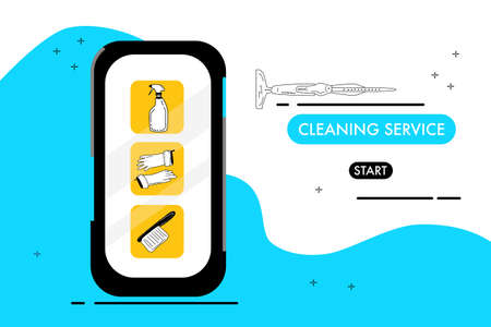 Smartphone with cleaning service website.Catalog of washing tools for floor,windows and dust removing.Find and order scrubwoman through internet.Vector doodle style items.Brush and soap for purifying