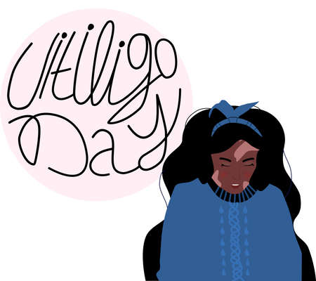 World vitiligo day.Young Afro american woman with skin disease.Pigmentation problem,white spots.Patchy loss of derma color.Autoimmune sickness.Vector medical illustration with lettering.Body positive