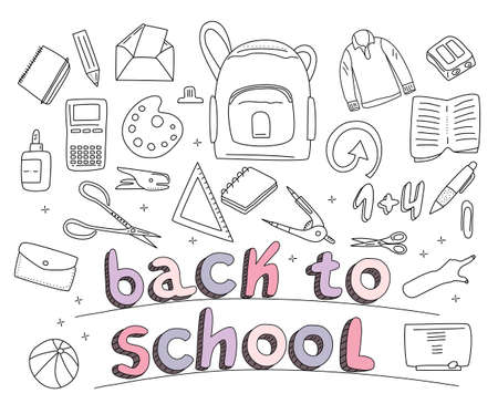 Stationery set in doodle style.Back to school concept with different size diary,open and closed notebook,office supplies.Line art scissors,pencils and lettering.Student tools for drawing,education