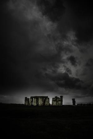 dark: Stoneheng in the dark day Stock Photo