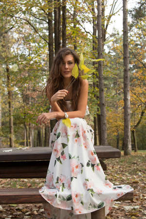 stilish: Beautiful young woman, sitting in white floral dress with leaves in her hand, in forest on autumn Stock Photo