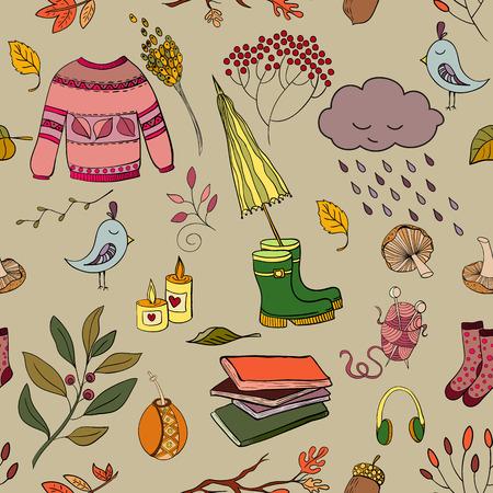 handdrawn: Handdrawn autumn seamless pattern Illustration