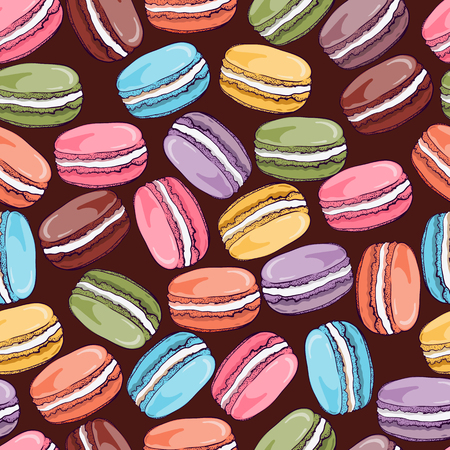 meringue: Vector seamless pattern with cute colorful macaroons cookies.Hand drawn macaroon design Perfect for  bakery shop advertising, invitation, valentine card.
