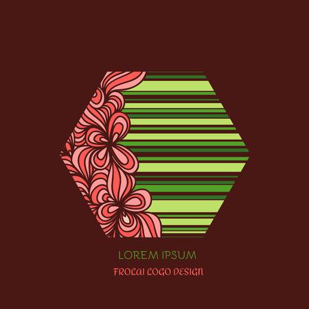 beauty shop: Simple and graceful floral monogram design template. Elegant line-art for beauty shop Illustration