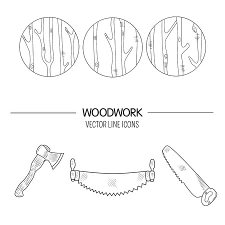 timber industry: Line style set of woodwork symbols and timber industry