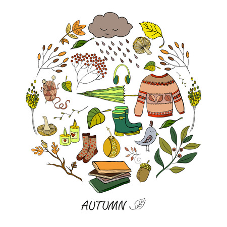 hand drawn autumn elements made in circle