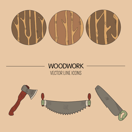 timber industry: Line style vector set of woodwork symbols and timber industry