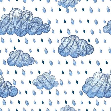 rain drop: Weather background. Cloud with rain drop seamless pattern. Vector doodle illustration.