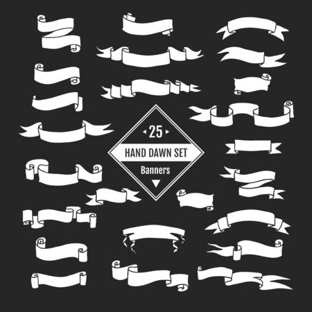 decrepit: Vector  hand drawn big set of ribbon banners and arrows isolated on black background and easy to use. Black and white collections.