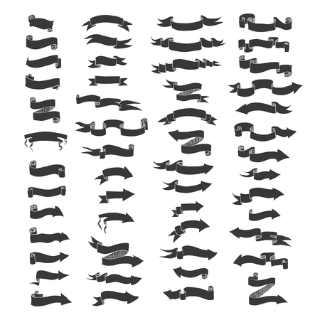 Vector hand drawn big set of ribbon banners and arrows isolated on white and easy to use. Black and white collections. Vector Illustration
