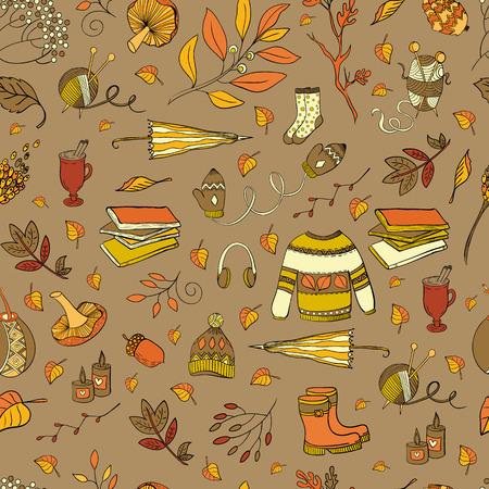 mate: Vector handdrawn autumn seamless pattern. Autumn elements isolated on background. Vector illustration. Illustration