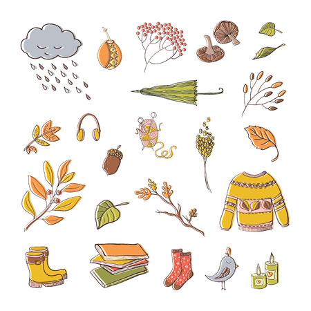Vector handdrawn autumn elements isolated on white background. Vector illustration. Illustration