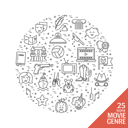 melodrama: Vector set of movie genres line icons made in circle isolated on white . Different film genre elements perfect for infographic or mobile app