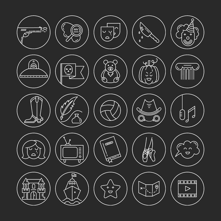 melodrama: Vector set of movie genres line icons isolated on dark . Different film genre elements perfect for infographic or mobile app