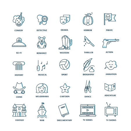 genres: Vector set of movie genres line icons isolated on white . Different film genre elements perfect for infographic or mobile app Illustration