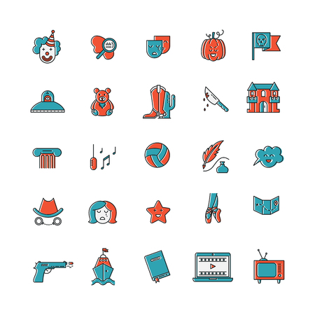 melodrama: Vector set of movie genres line icons isolated on white . Different film genre elements perfect for infographic or mobile app Illustration
