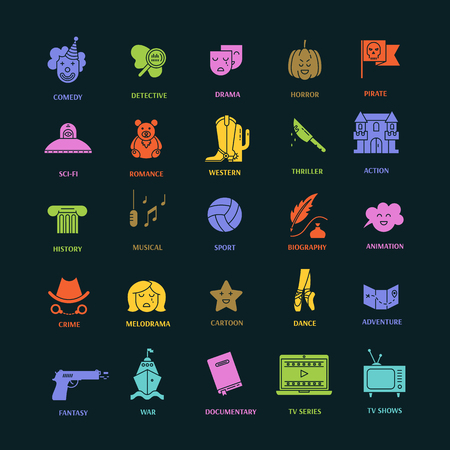 melodrama: Vector set of movie genres flat  icons isolated . Different film genre elements perfect for infographic or mobile app Illustration