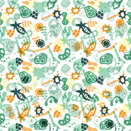 ameba: Vector seamless pattern with bacterial, cells, virus and germs. Hand drawn medical background. Vector illustration.