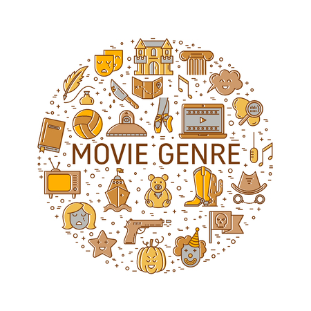 melodrama: Vector set of movie genres line icons made in circle isolated on white background. Different film genre elements perfect for infographic or mobile app