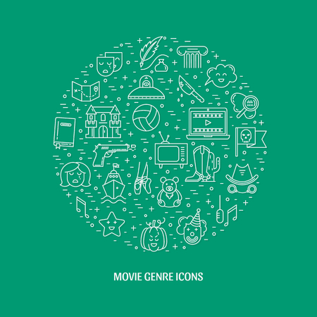 melodrama: Vector set of movie genres line icons isolated on colorful background. Different film genre elements perfect for infographic or mobile app Illustration