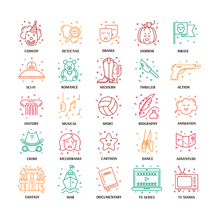 melodrama: Vector set of movie genres line icons isolated on white background. Different film genre elements perfect for infographic or mobile app