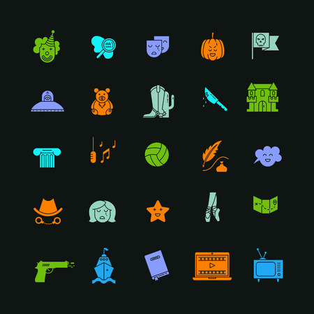 melodrama: Vector set of movie genres flat  icons isolated on dark background. Different film genre elements perfect for infographic or mobile app