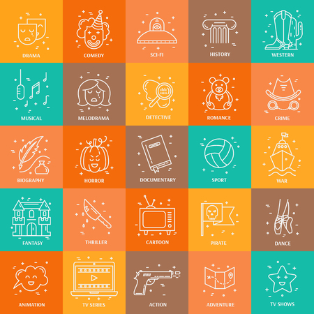 melodrama: Vector set of movie genres line icons isolated on  background. Different film genre elements perfect for infographic or mobile app Illustration