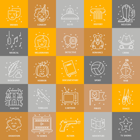 Vector set of movie genres line icons isolated on  background. Different film genre elements perfect for infographic or mobile app Illustration