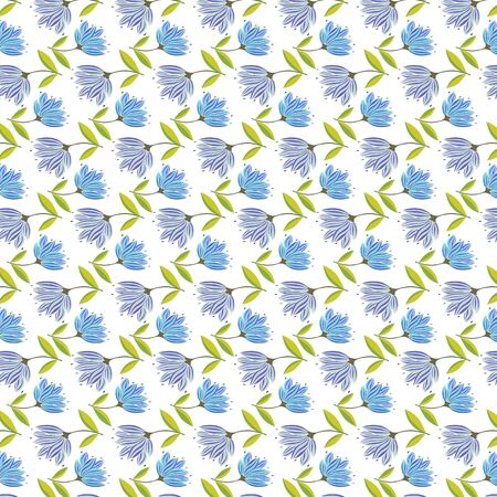 package design: Vector floral seamless pattern. Hand drawn flower design in blue color. Perfect for wallpaper, wrapping paper, textile, package design Illustration