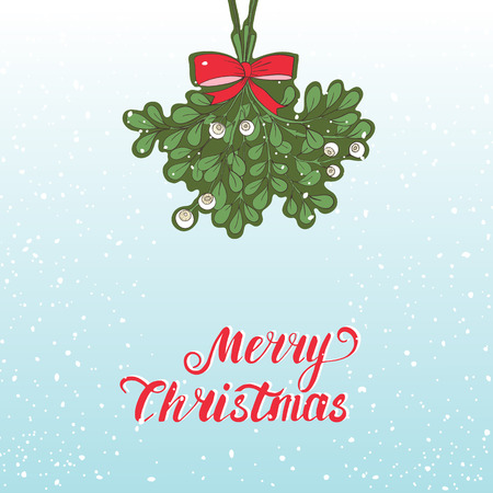 christmas plant: Hand drawn mistletoe. Vector Christmas plant  background. Romantic Christmas illustration. Greeting card design. Vector mistletoe. Winter template.