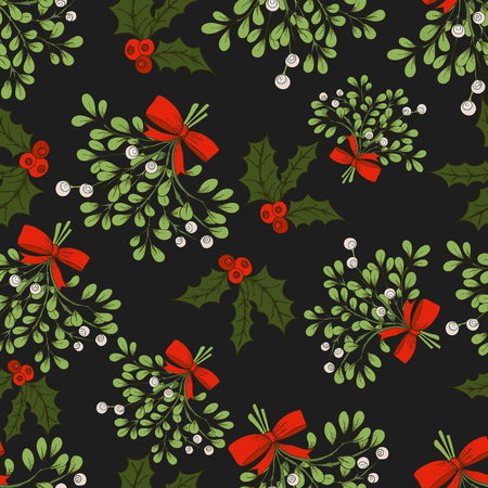 Vector Christmas seamless pattern with branches of mistletoe. For fabric, wrapping paper, print and web projects. Greeting card design. Vector mistletoe. Winter template.