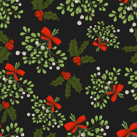 Vector de Navidad sin patrón, con las ramas de muérdago. Para telas, envolviendo proyectos banda de papel, impresión y. Diseño de la tarjeta. muérdago del vector. del modelo del invierno.