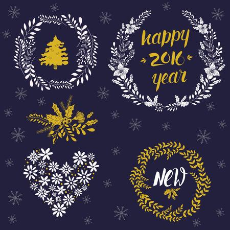 Gelukkig Nieuwjaar kalligrafische, kransen, frames, 2016 handgemaakte teken. Kerst set - labels, emblemen en andere decoratieve elementen. Stock Illustratie