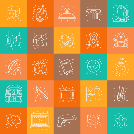 melodrama: Vector set of movie genres line icons isolated on background. Different film genre elements perfect for infographic or mobile app