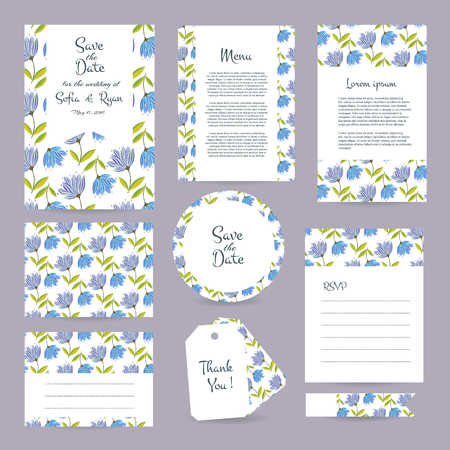 rsvp: Vector gentle wedding cards template with flower design. Wedding invitation or save the date, RSVP, menu and thank you card for bridal design. Vector set of  postcard with floral decoration.