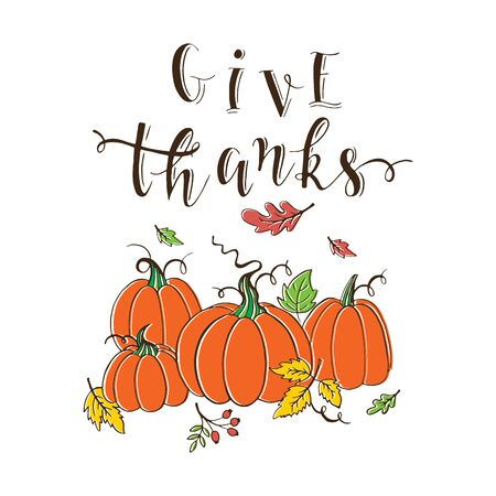 pumpkin patch: Vector Thanksgiving design greeting card with typographic  and decoration elements. Give thanks. Pumpkin patch on white background. Thanksgiving Day card.