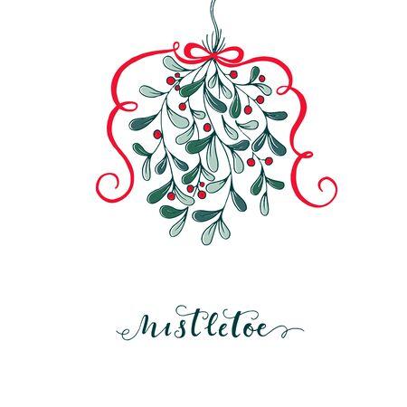 christmas plant: Hand drawn mistletoe. Vector Christmas plant background. Romantic Christmas illustration. Greeting card design. Vector mistletoe.Vector template.