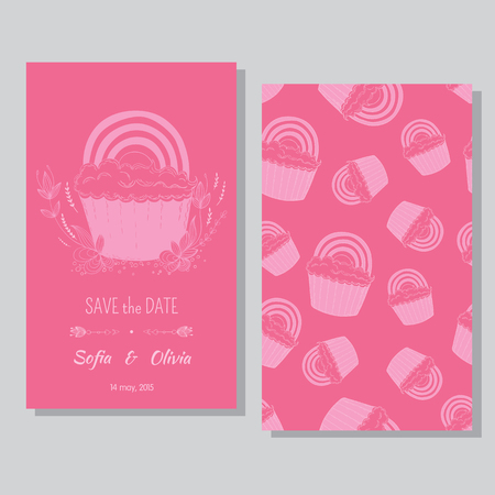 bisexual women: Lesbian couple card - save the date Illustration