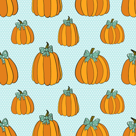 pumpkin patch: Pumpkins seamless pattern Illustration