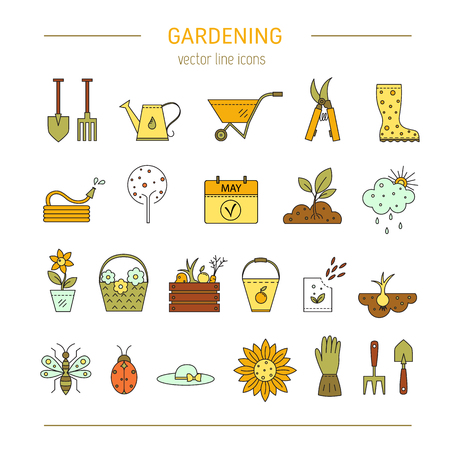raking: Gardening vector line icons Illustration