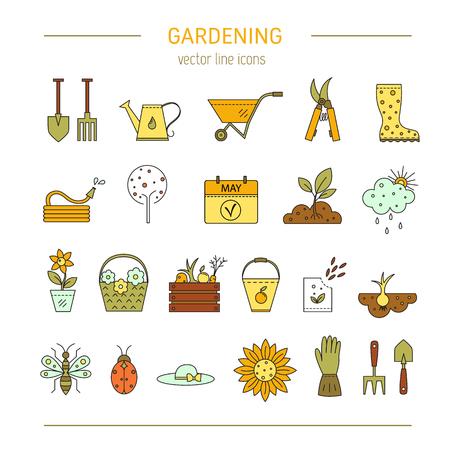 hosepipe: Gardening vector line icons Illustration
