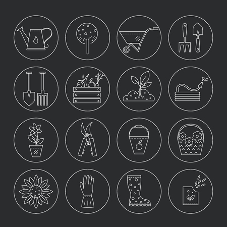 raking: Vector line icons collections made in minimalist modern style.  Flower and gardening. Tools and materials for working in garden. Illustration